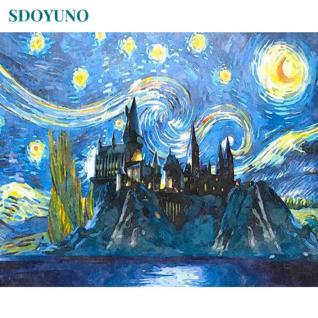 Sdoyuno замок под звездным небом краска по номерам diy рамка