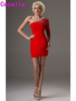 Red One Shoulder Mini Cocktail Dresses Beaded Chiffon Half Sleeves Short Prom Party Dresses For Girls Club Dresses Sexy On Sale