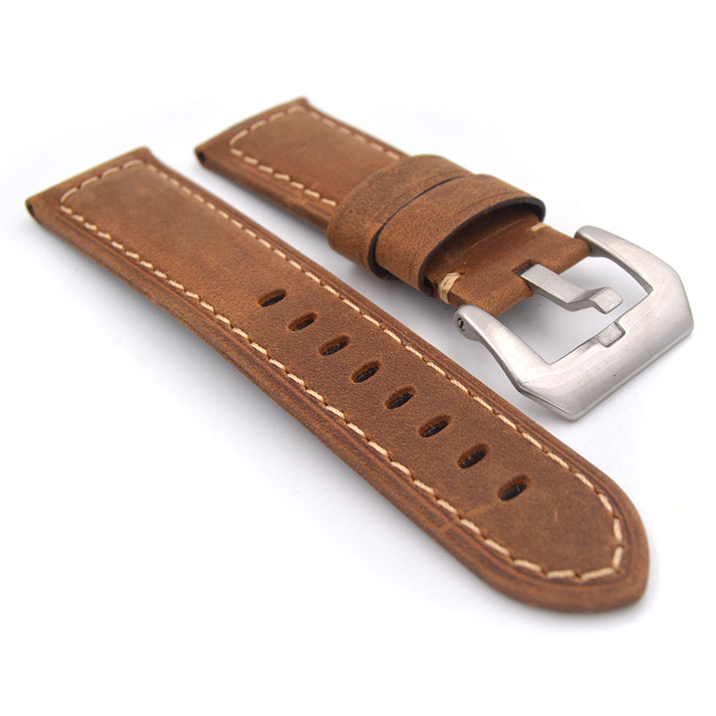 Men Brown Blue Green Yellow Strap Watch Accessories Handmade 22mm 24mm Leather Watchbands For Panerai Pam Watch band starp eache silicone watch band strap replacement watch band can fit for swatch 17mm 19mm men women