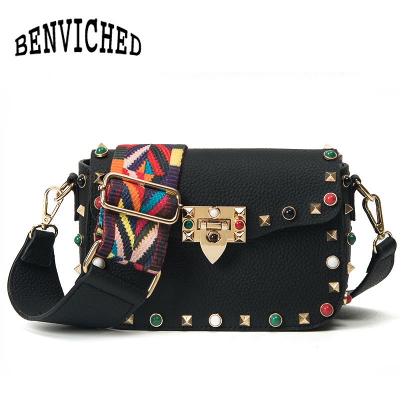 BENVICHED PU Leather Women Crossbody Bags Fashion Color Rivet Design Women Shoulder Bags Color Shoulder Strap bolsa L138