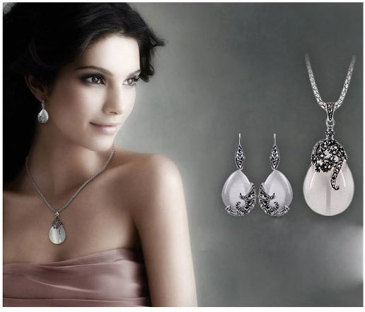 JEXXI Vintage Water Drop Pendant Necklaces Earrings Set  Silver Wedding Engagement Jewelry Sets for Women 1