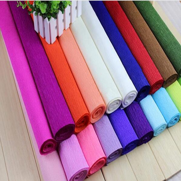 7rolls Lot Red Yellow Blue Pink Coffee Balck Color Crepe Paper Flower Wrapping Packing For Home