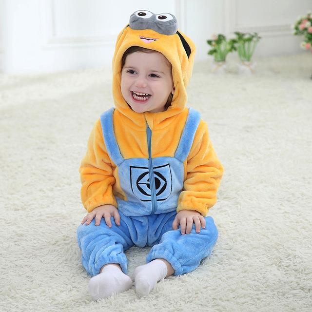 Cartoon Minions Onesie Kids Girls Boys baby Clothes set Romper Warm Soft Animal anime Cosplay Pajama Children Halloween Costumes