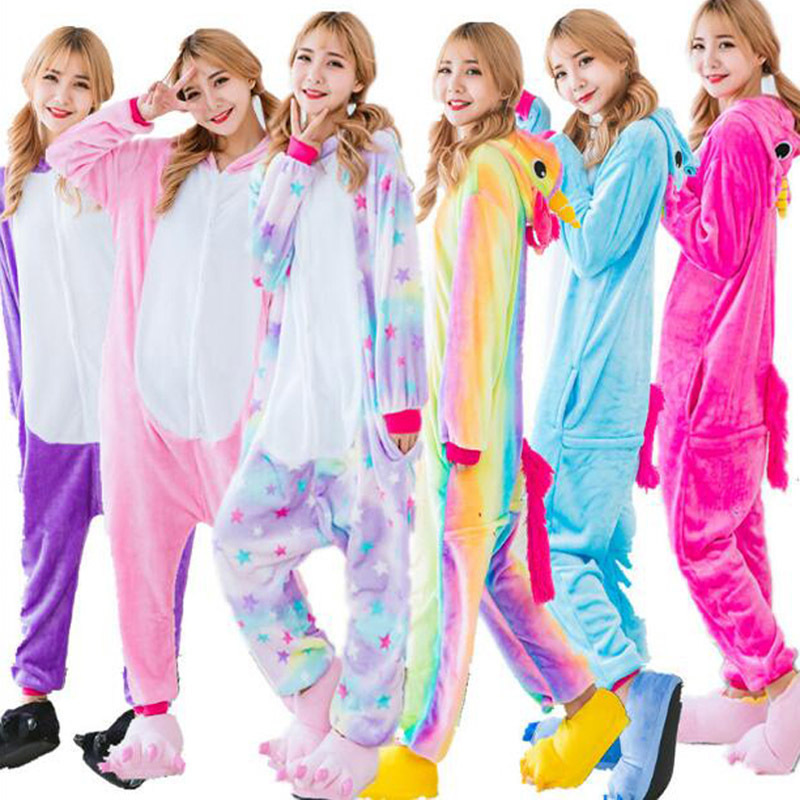 Cute Cartoon Rainbow Star Unicorn Pajamas Winter Adult Unicorn Pajamas Flannel Hooded Long Sleeve Unicornio Pajamas For Women