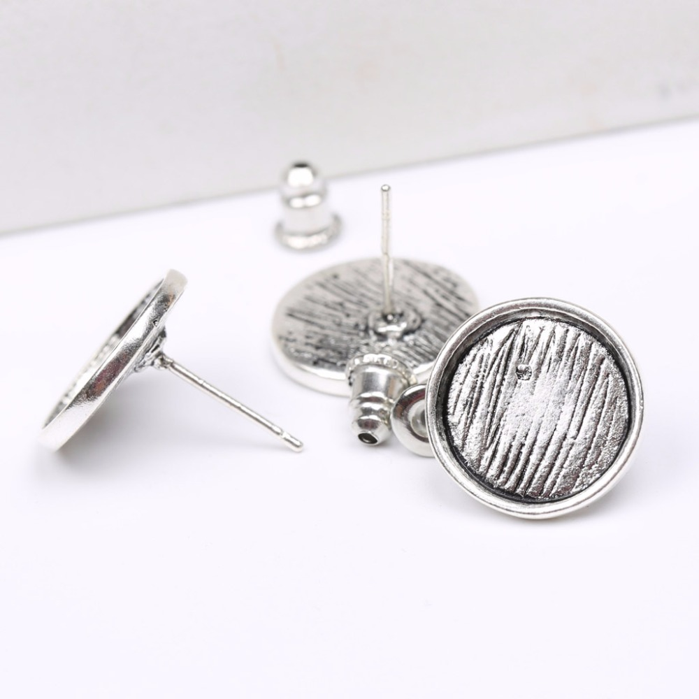 Beads & Jewelry Making Back To Search Resultsjewelry & Accessories 20x Inner 12mm Double Orifice Ear Nut+stud Earring Blank Bezel Setting Tray Antique Bronze,silver,gold For Glass Cabochons