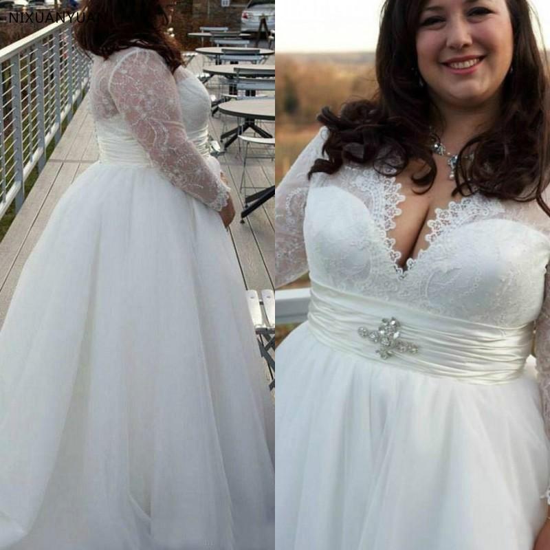 Elegant Wedding Gowns For Older Brides: Elegant Long Sleeves V Neck Designers White Ivory Lace