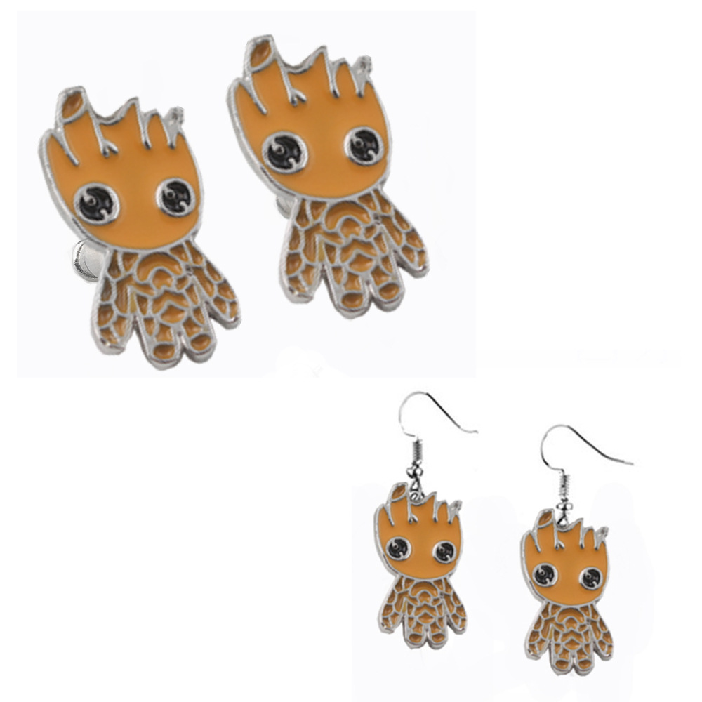 Movie Avengers: Infinity War Groot Earrings Necklace Key Chain Badge Guardians Of The Galaxy Groot Ear Studs Cosplay Accessories