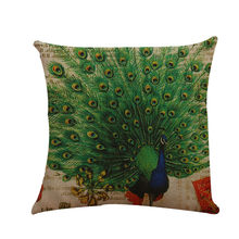 Decorative cushions for sofa 2019 Peacock Printed Flax European Style Mixed Cushion 45x45 personality cushion coussin de chaise(China)