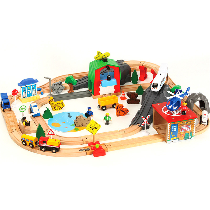 79Pcs Vocal Electric Train Track Gray Hillside Stop Airport Fishing Scene Wooden Railway Toy Compatible Brand Wooden Track Brio79Pcs Vocal Electric Train Track Gray Hillside Stop Airport Fishing Scene Wooden Railway Toy Compatible Brand Wooden Track Brio