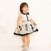 Sweet Girl Dresses Summer Kids Dress For Girls Dresses Mesh Belt Children Clothes Style Beautiful Dot Printed Girls Chothing(China)
