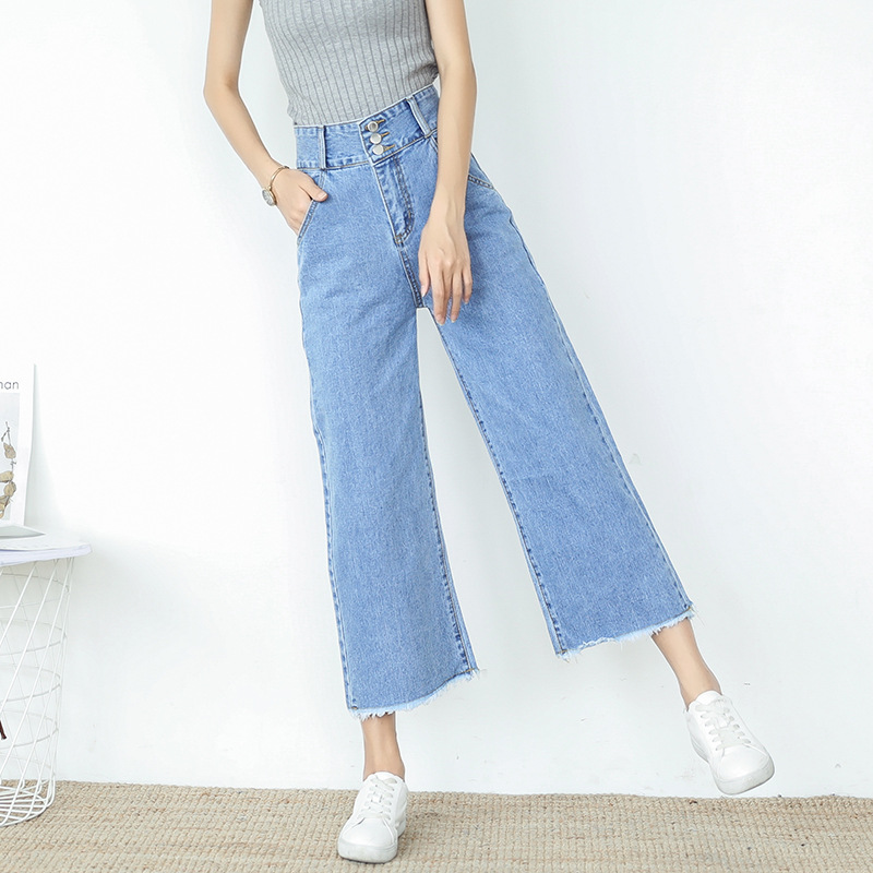 Retro High Waisted Wide Leg   Jeans   Denim Pants Baggy Boyfriend   Jeans   For Women Femme Push Up Straight Ankle Loose Denim Trousers