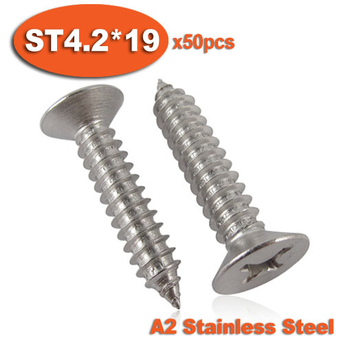 ∞50 pcs DIN7982 ST4.2 x 19 A2 Stainless Steel Self Tapping sekrup ... 27833610aa