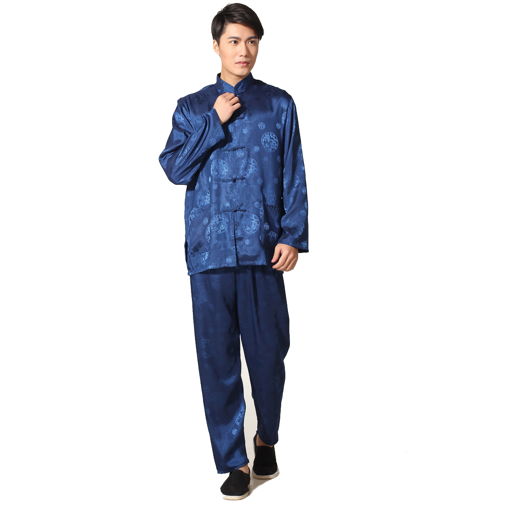Vintage Dragon Satin Chinese Style Kung Fu Suit Mens Long Sleeve Tai Chi Uniform Navy Blue Set S M L XL XXL XXXL M0050-2