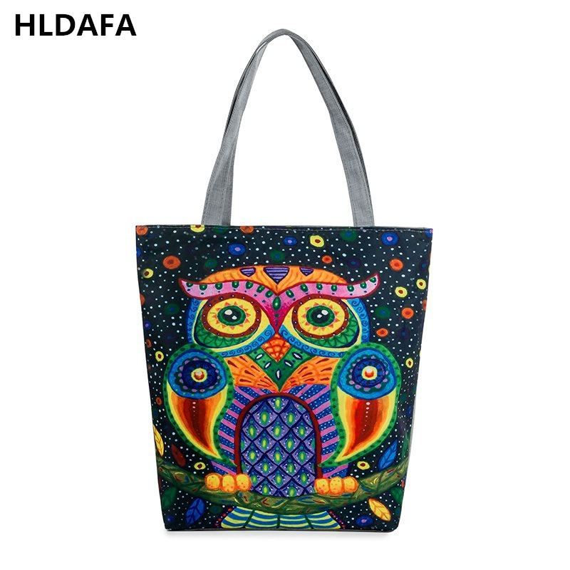 New Large Capacity Female Single Shoulder Bag Animal Printed Canvas Tote Handbags Daily Use Canvas Shopping Bag Women Beach Bags