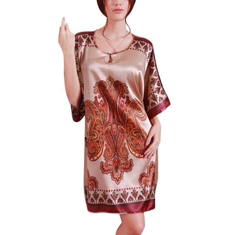 2017 Nightgowns & Sleepshirts Women Summer Nightdress Bath Robe Faux Silk Bathrobe Sleepwear