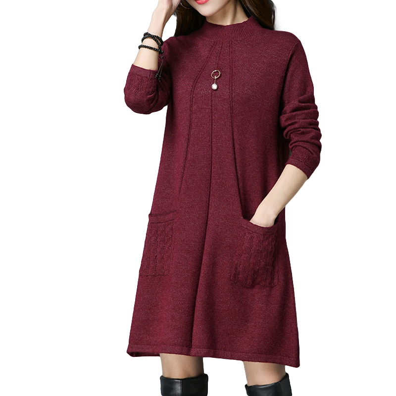 Autumn winter Women loose knitted dress with pockets fashion trend long sleeve round collar pure color woman long sweater HM989 hmchime 2017 autumn women high elastic knitted dress fashion sexy patchwork round collar long sleeve woman sweater dress hm703