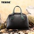 TERSE_Elegant дамы сумки ручной работы из натуральной кожи класса люкс сумочка с ручкой в зеленый/фиолетовый/бургундия женщины shopping bag