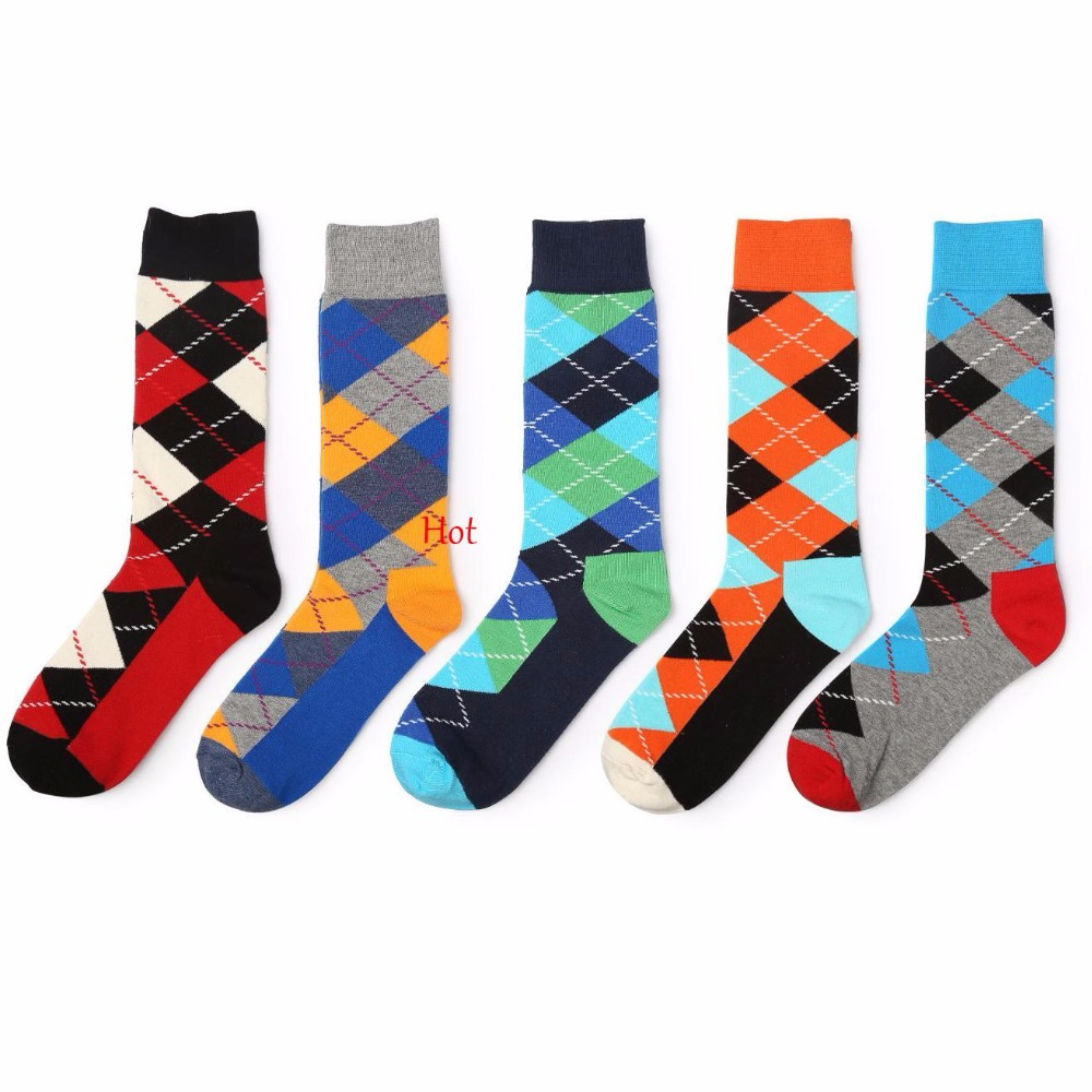 5 Pairs Spring Autumn Mens Sock Sets Colorful Plaid Diamond Socks Men Combed Cotton Blend Soft Breathable Socks Accessories
