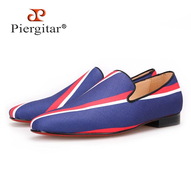 Piergitar/Новинка 2017 года; синие парусиновые туфли с квадратным носком и полосатым дизайном для вечеринки и банкета; Мужские модельные лоферы; к