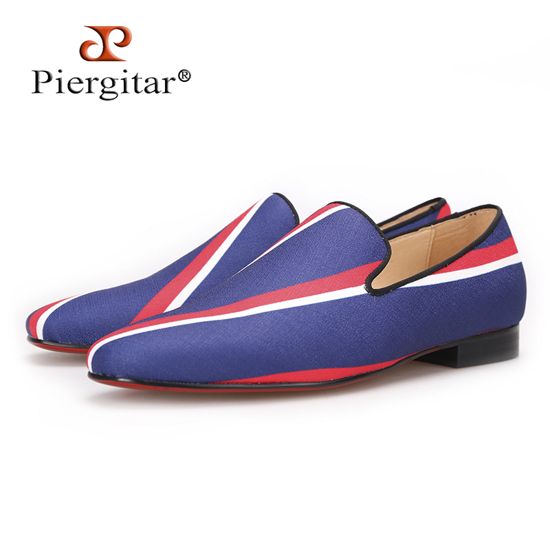 Piergitar 2017 new Square toe blue canvas shoes with striped design Party and Banquet men dress loafers Leather insole men flats casual men s sandals with striped and velcro design