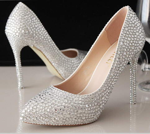 The new thin soled shoes bride diamond wedding shoes silver rhinestone up heels point toe women pumps