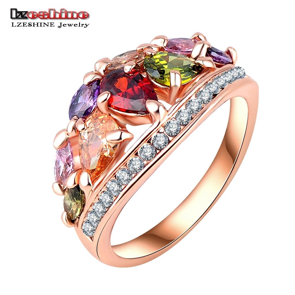 Lzeshine renkli moda yüzük kadınlar için gül altın renk aaa zirkon parmak yüzük ile parti takı anillos ri-hq0401