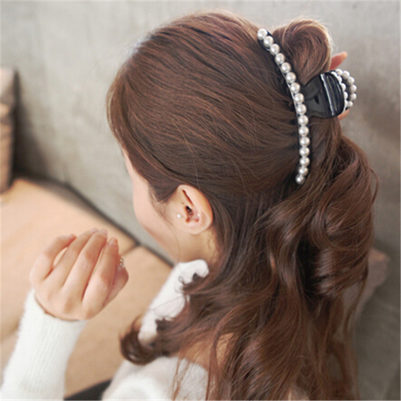big faux pearl hair clips barrette cheveux crab korean girls hair accessories for women hair. Black Bedroom Furniture Sets. Home Design Ideas