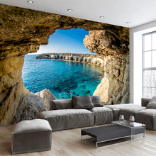 Custom size wall mural wallpapers Modern fashion Sea outside the cave Multi pieces Package Wall Sticker YBZ103