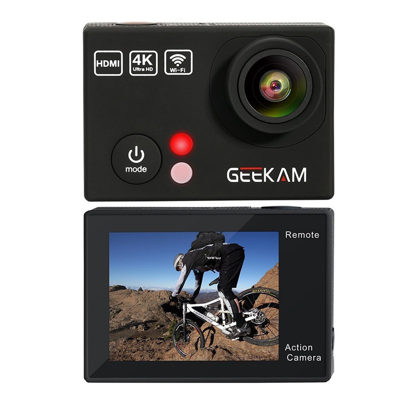 Caméra d'action Geekam 4 K, caméra d'action étanche avec télécommande Wifi 4 K 25Fps 2.7 K 12MP Ultra HD 170 degrés de large Ang