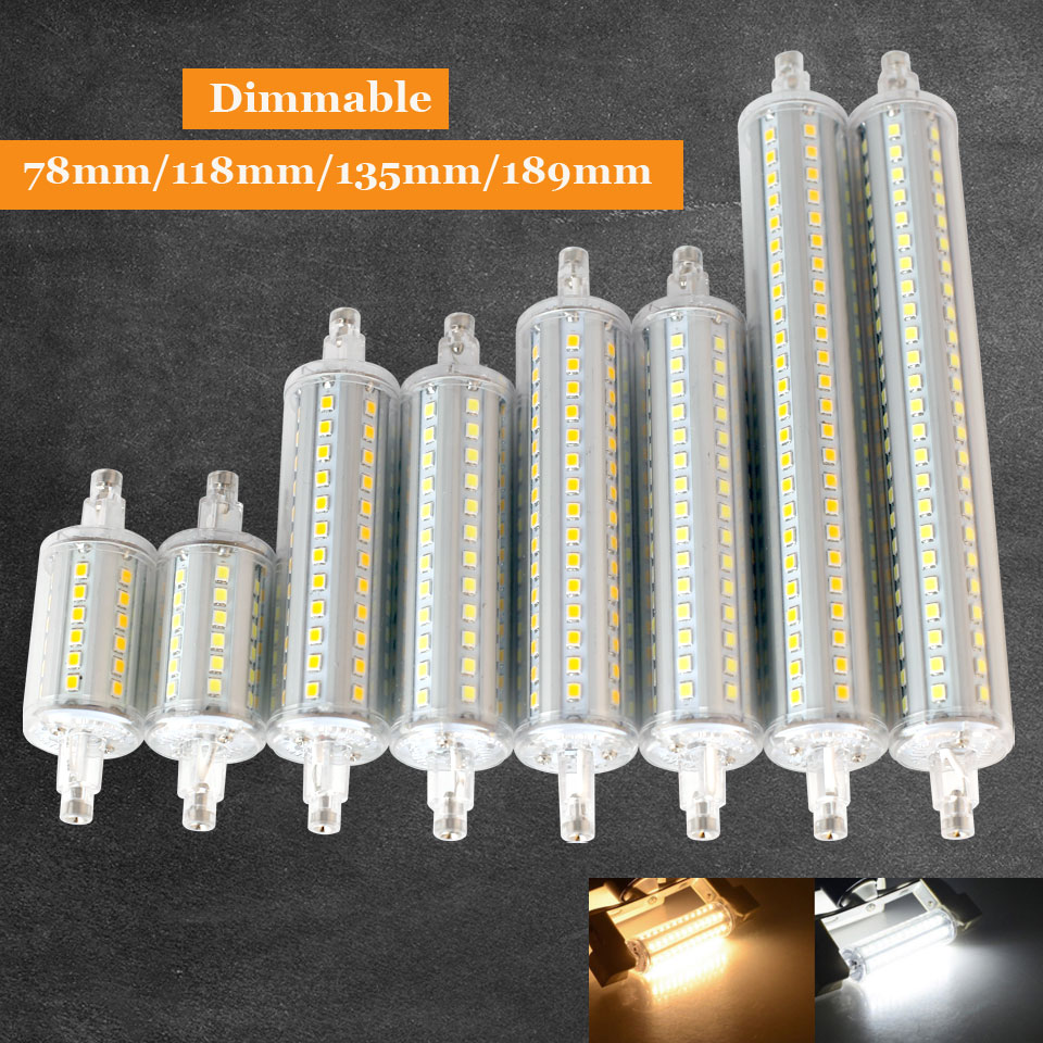 High Power Dimmable 10W 15W 18W 20W 220V R7S LED Lamp J78 J118 J135 J189 Horizontal Plug Bulb For Floodlight Lawn Light