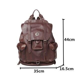 Image 5 - Pierwsza warstwa skóry męski plecak Retro pojemna na laptop torba męskie plecaki turystyczne skóra bydlęca nowe modne torby szkolne