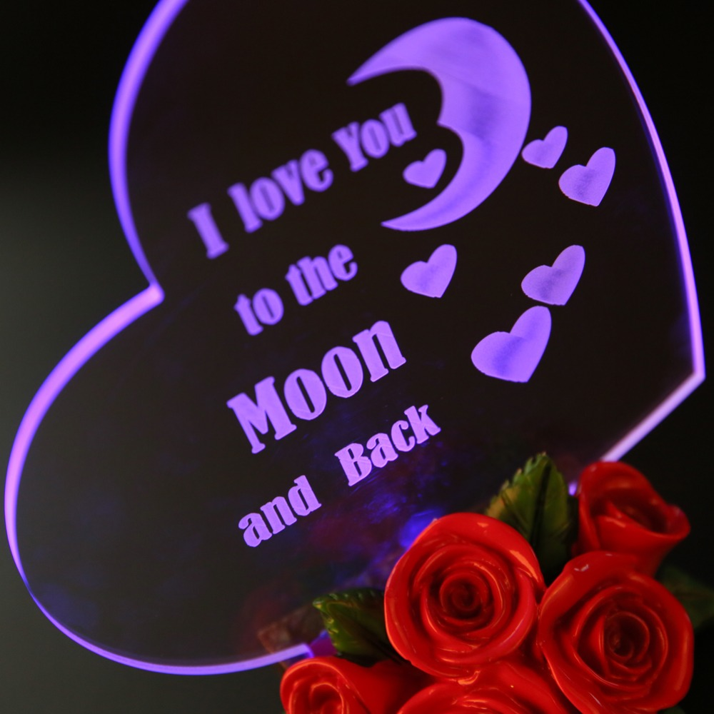 LED Night Light Birthday Gift Birthday Party Decoration Moms Day Gift Heart Shaped Cake Topper Love You to the Moon and Back