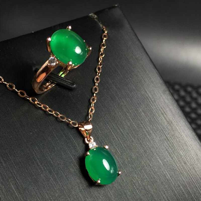 Promotion Special Offer Natural Gemstone Jewelry Green Chalcedony Women 925 Silver Jewelry Set Wedding Ring/Necklace Sets YJS012
