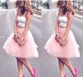 2016 Летний Стиль 6 Слоя Заказ Высокой Талией Тюль Юбка Розовый Midi Юбки Женские Взрослых юбки Faldas Saias Femininas