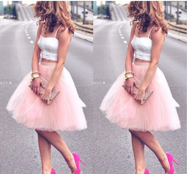 2016 Summer Style 6 Layers Custom Made High Waisted Tulle font b Skirt b font Pink
