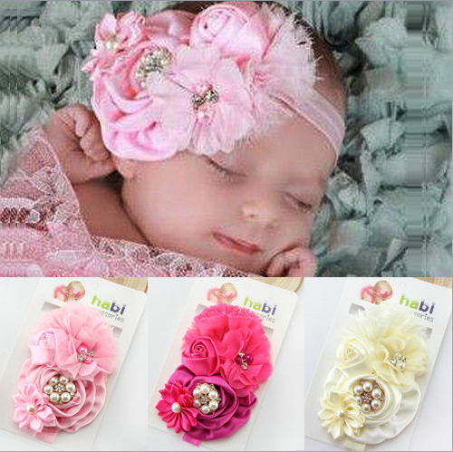 Retail Fashion Infant Toddler Baby Headbands girl flower with rhinestone head band kids hair accessories