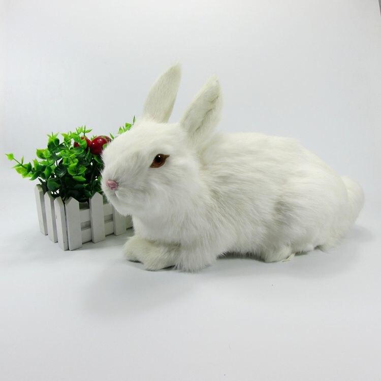 Grand mignon jouet de lapin simulation plastique et fourrure blanc lapin poupée modèle cadeau 33x16x22 cm a73