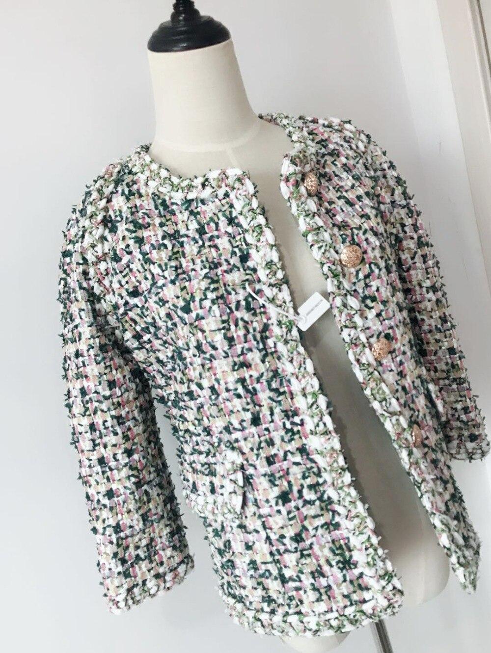 Designer automne Coloré Veste Piste Mince Manteau De Cou Survêtement Printemps Femmes Luxe 2018 Tweed O Élégant 0wB5qxpO