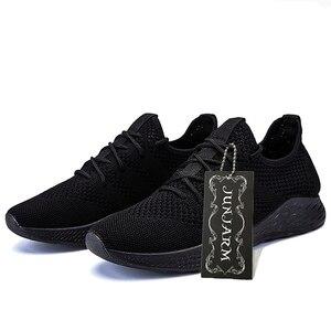 Image 4 - JUNJARM Erkekler Sneakers rahat ayakkabılar Marka erkek ayakkabısı Erkek Örgü Flats Loaferlar Nefes Erkek bağcıksız ayakkabı Bahar Sonbahar