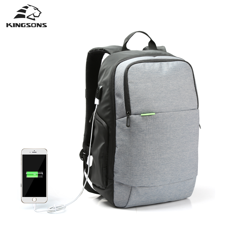 Kingsons Brand External USB Charge Laptop Backpack Anti-theft Notebook Computer travel bag 15.6 inch for Business Men Women
