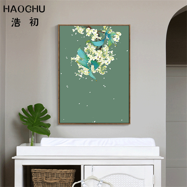 HAOCHU Wind Blow The Flower Canvas Painting Modern Wall Art Simple Oil Poster For Home Ornament