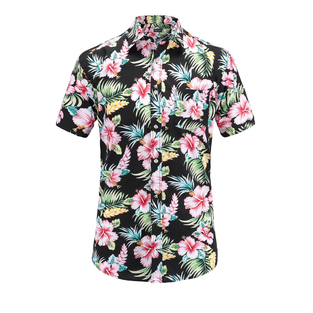 Shirts for Men Hawaii Floral Print Polo Blouse Short Sleeve Lapel Tops Tee Business Beach Shirt
