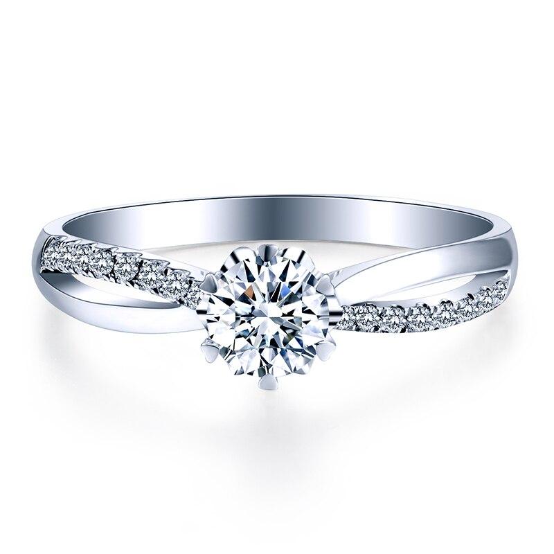 ZHJIASHUN classique 0.8ct poire forme Moissanites diamant 14 k 585 or blanc anneaux de mariage torsion bandes pour femmes bijoux