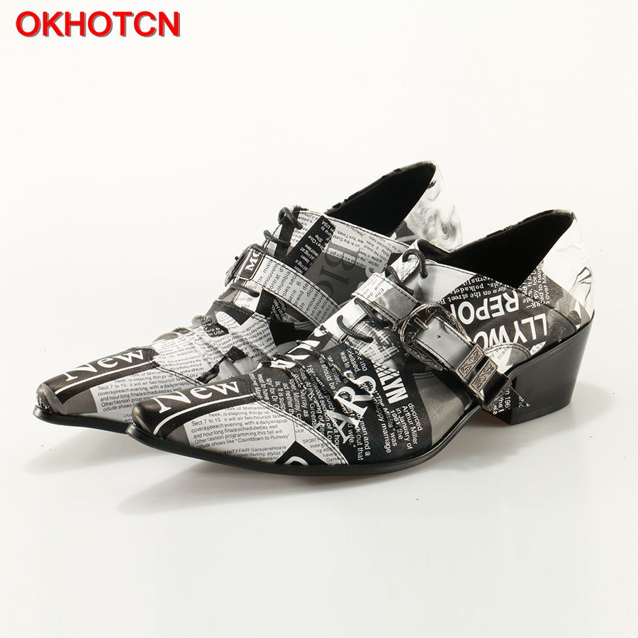 OKHOTCN Buckle Strap Men Leather Shoes Fashon Graffiti Newspaper Print Lace Up Men Oxfords Shoes For Men Low Heel Casual Shoes ch kwok graffiti newspaper print men casual leather shoes italy design buckles lace up men oxfords shoes for men low heel