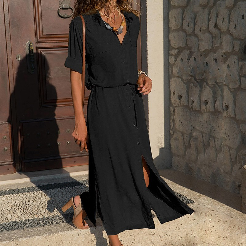 DeRuiLaDy 18 New Fashion Women Casual Long Dress Women Autumn Winter Long Sleeve Button Shirt Maxi Dresses Ladies Vestido 4