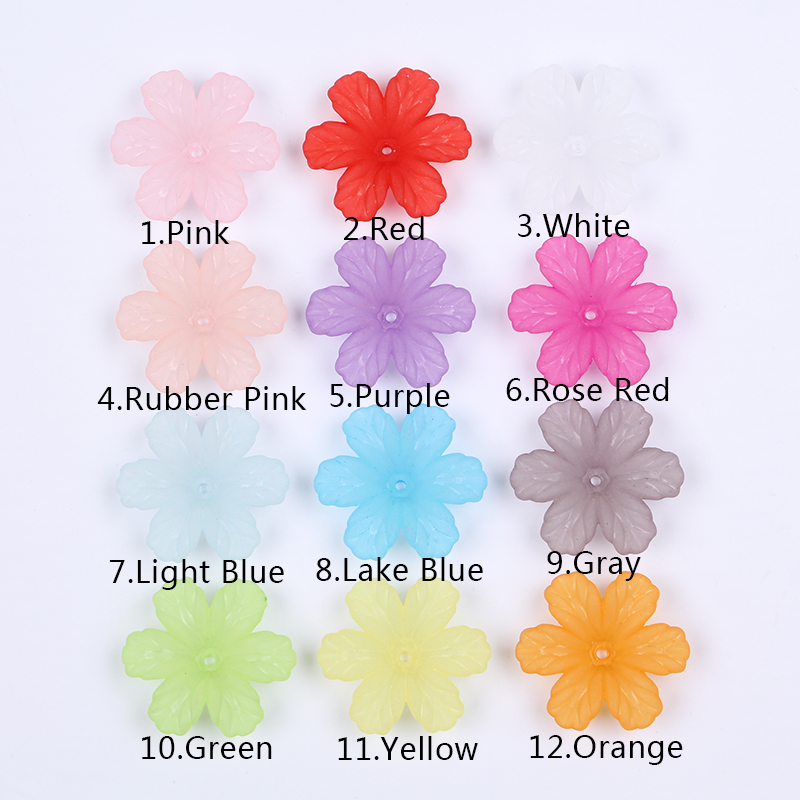 32x29mm Acrylic Colorful Frosted flower beads untuk Menjahit Anting - Perhiasan fashion - Foto 4