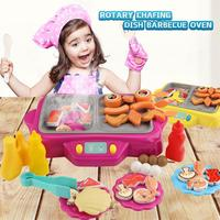 Electric Simulation Rotating Hot Pot Kids Kitchen Play House Toy With Ringtone Grill With Fog Function Children Pretend Play Toy