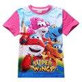 Super asas Meninos Camisetas de Manga Curta Crianças Roupas de Algodão meninas Do Bebê T Camisa Dos Desenhos Animados T-shirt das Crianças Top Roupas Infantis