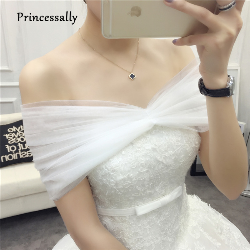 Bride Wedding Cape Fashion Double Layer Soft Net Lace Luxury Ivory Wedding Accessories Bolero Women Tulle Shrug Wedding Wraps
