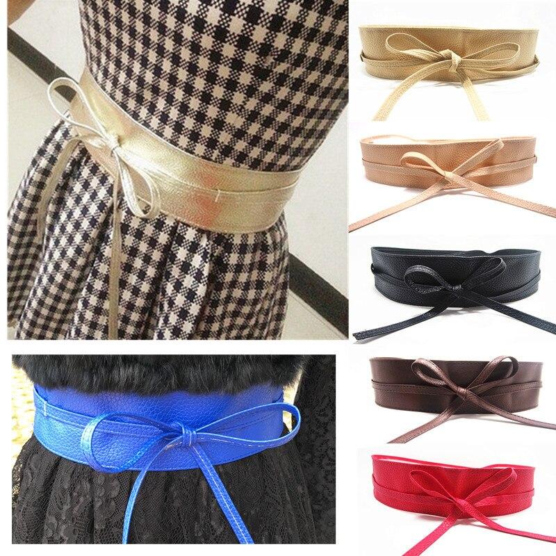 Lace Up Pu Leather Designer Wide Corset Cummerbunds Strap Belts For Women Girls High Waist Slimming Girdle Belt Ties Bow Bands